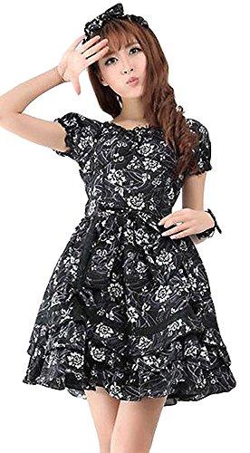 Gewächshaus Schwarz schwarze Kleid Schleife schwarz weiß GLP und Spitze Floral Kopf mit Design xrznx7
