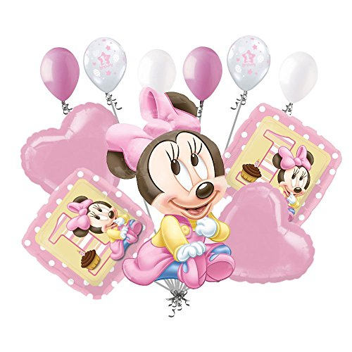 11 pc 1st Baby Minnie Mouse Happy Birthday Balloon Bouquet Party Pink -
