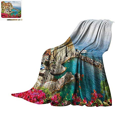 Terra Dry Wine - Italy Throw Blanket Monarola Antique Village in Cinque Terre Coastal Panorama Summer Beach Scenic View Warm Microfiber All Season Blanket for Bed or Couch 80