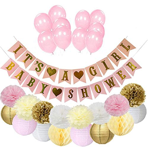 Pink and Gold Baby Shower Decorations for Girl Baby Shower It's A Girl Garland Bunting Banner Tissue Paper Flower Pom Poms Paper Lanterns Paper Honeycomb Balls Tissue Birthday Party Decorations