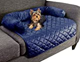 """PETMAKER Furniture Protector Pet Cover for Dogs and Cats with Shredded Memory Foam filled 3-Sided Bolster Soft Plush Fabric by 30 """" x 30.5 """" Blue"""