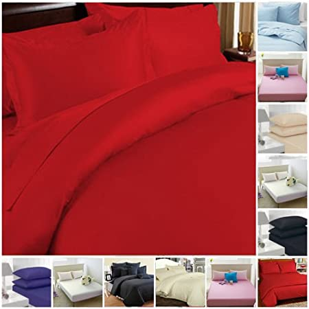 Red Dyed Duvet Cover Poly Cotton Bedding Pillow Cases Single,Double,King