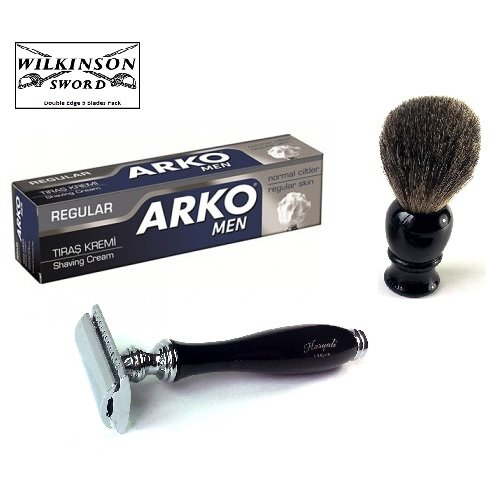 Safety Razor Badger Hair Shaving Brush Arko Cream Wilkinson Blades