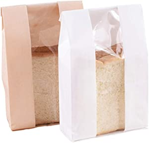 50 Pcs Kraft Paper Treat Bag with Transparent Window for Bakery Bag Storage Food Bread Cookie Popcorn Toast, 9