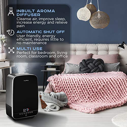 Humidifier for Bedroom Premium Quality 5.5L Capacity for Large Room Warm Mist & Cool Humidifier with Humidistat - Whisper Quiet Humidifier for Baby Room, Home, Living Room - 40H Humidifying