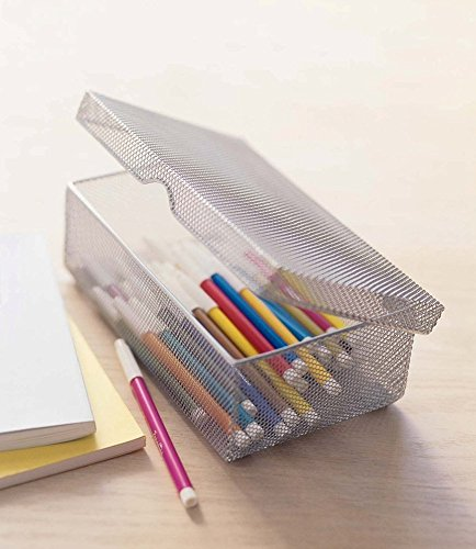YBM-Home-Silver-Hinged-Mesh-Pencil-Storage-Box-School-Supply-Holder-Office-Desktop-Organizer-2307