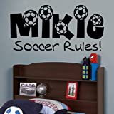 Newclew Soccer Ball Custom Text Wall Decal Sticker Decal Home Décor Large