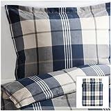 Ikea Kustruta Queen 3pc Blue Brown White Plaid Duvet Quilt Cover