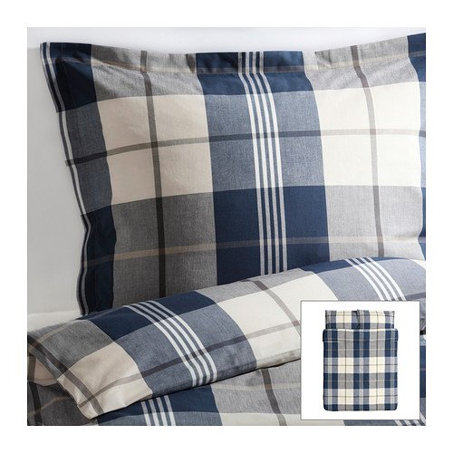 Ikea Kustruta Queen 3pc Blue Brown White Plaid Duvet