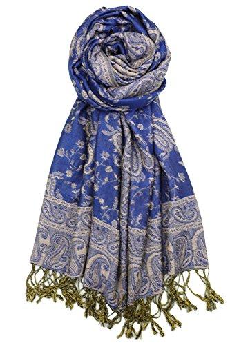 Achillea Soft Silky Reversible Paisley Pashmina Shawl Wrap Scarf w/Fringes (Royal Blue)