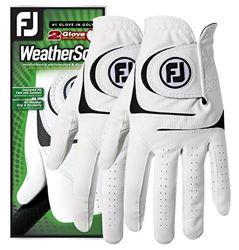 FootJoy WeatherSof 2-Pack Golf Gloves 2018 Regular White/Black Fit to Left Hand Large
