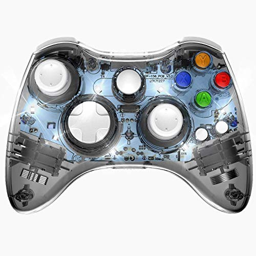 Xbox 360 Wireless Controller, Wireless Game Controller Gamepad Joystick, Transparent Shell, Suitable for Xbox 360 Console/PC Windows7/8/10 -Trasparent Colorfull LED Lights (Third-Party Product) (Xbox 360 Racing Games With Car Customization)