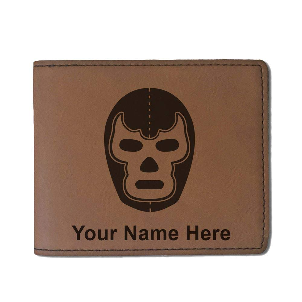 Faux Leather Wallet, Luchador Mask, Personalized Engraving Included (Dark Brown)