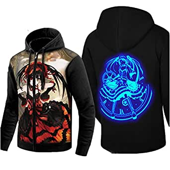 Cartoon Anime Date A Live Cosplay Cotton Luminous Zip Up Hoodies Sweatshirt Pullover Shirt Tops (US S=Asia L, B)