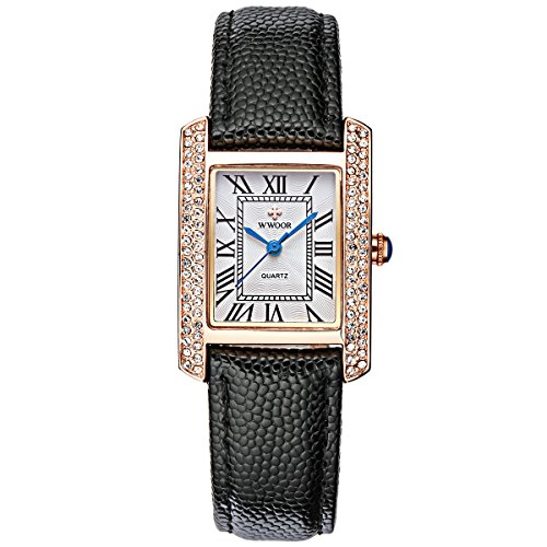 Women Casual Watches Female Diamond Wristwatch Dial Analog Clock Classic Quartz Watch Fashion Ladies Wrist Watch (Black)