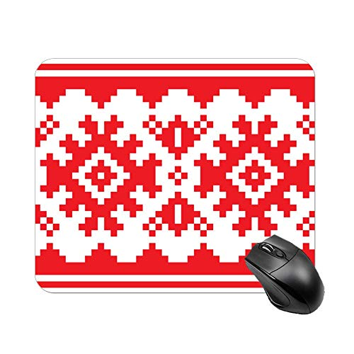 Welkoom Gaming Mousepad- Thick Mouse Pad with Stitched Edges, Non-Slip Rubber Base, Scandinavian Nordic Belt Seamless Pattern Mouse Mat