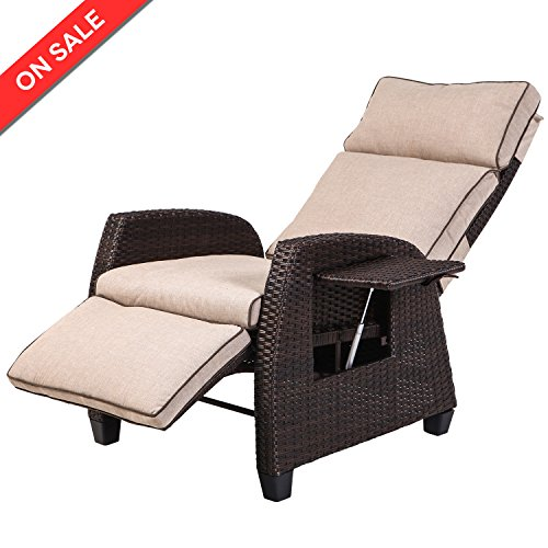 LCH Indoor/Outdoor Wicker Recliner with Cushions - Adjustable Relaxing Patio Lounge Chair, Rust-Resistant Aluminum Frame Lounge Chair with Beige Thicken Cushions (Resin Patio Chair Cushions)