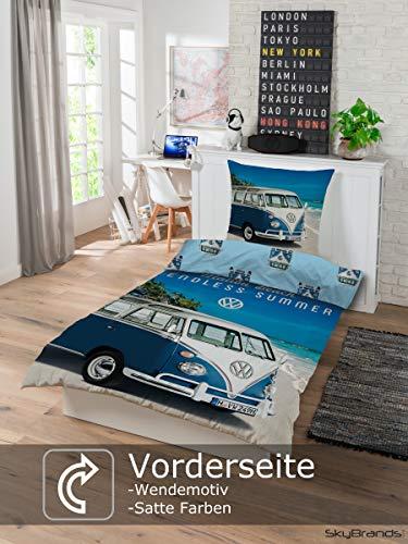 Bettwäsche VW Bulli 135x200 80x80 Kissenbezug [Wendemotiv] Baumwolle Bettbezug Volkswagen Bett Set [Mit Reißverschluss…