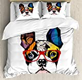 Lunarable Art Queen Size Duvet Cover Set, French Bulldog Portrait with Hipster Glasses Abstract Modern Colorful Ears and Eyes, Decorative 3 Piece Bedding Set with 2 Pillow Shams, Multicolor