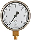 NOSHOK 200 Series 304 Stainless Steel Dry Dial Indicating Low Pressure Diaphragm Gauge with Bottom Mount, 4'' Dial, +/-1% Accuracy, 0-10''WC Pressure Range