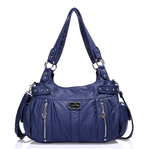 Pockets Womens Large Top Lether Angelkiss Design Purse Soft Multiple Feel �� Zipper Bags Blue Shoulder Handbags 4qavxf