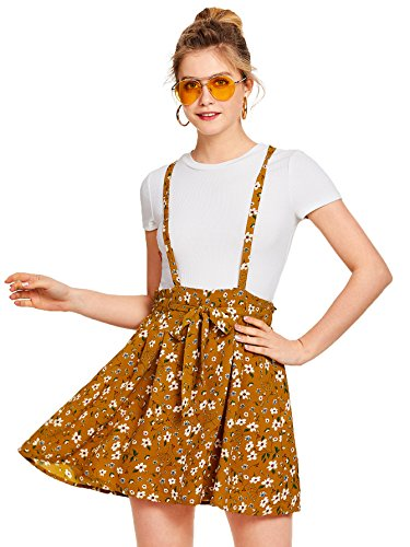 Romwe Women's Floral Print Self Tie Waist Crisscross Pinafore Overall Dress Ginger M