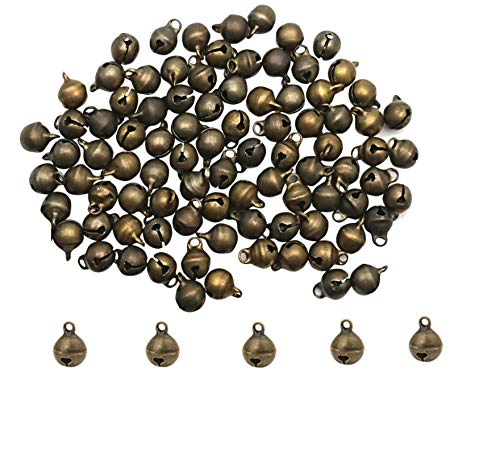 LASSUM 100 6mm Vintage Alloy Bronze Small Jingle Bell,Mini Bell for DIY Bracelet Anklets Necklace Knitting//Jewelry Making