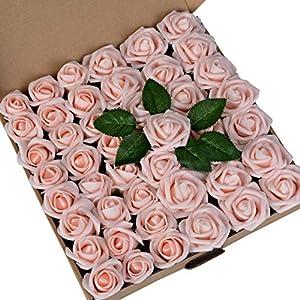 Breeze Talk Artificial Flowers 45pcs Blush Peachy Pink Rose Buds & Small Roses w/Stem DIY Wedding Bouquets Centerpieces Arrangements Baby Shower Party Home Decorations (Blush)