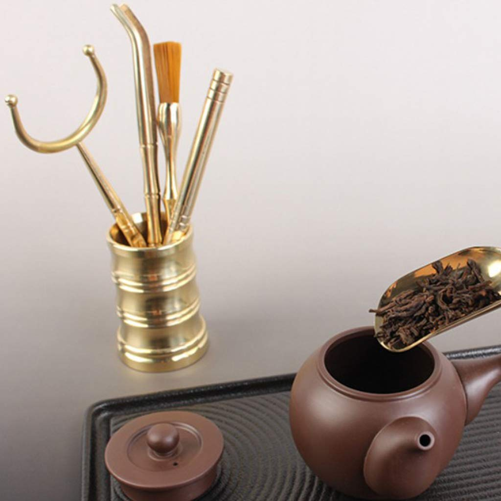 Flameer 6 Pieces Copper Material Chinese Cha Dao Tea Utensils Tools Set Home Decor by Flameer (Image #9)