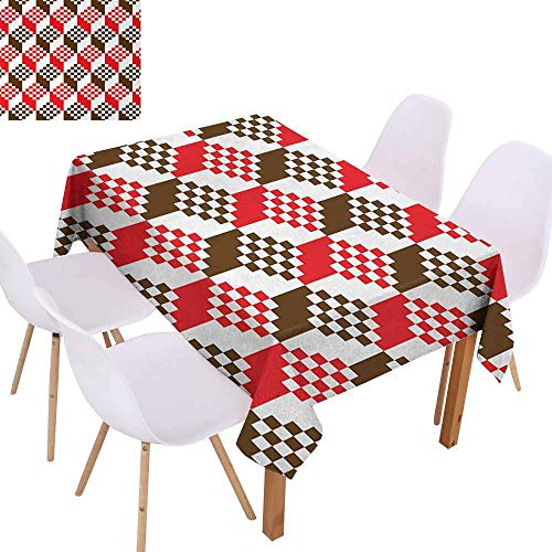 (UHOO2018 Abstract,Rectangle Tablecloth,Vintage Dimension Background Geometric Squares Artful Digital Design,Great for Buffet Table, Parties,Chocolate Scarlet White,60