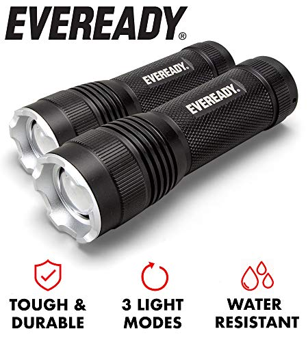 Eveready LED Tactical Flashlight, High Lumens, Zoomable, 3 Light Modes, IPX4 Water Resistant, Durable Metal Body, Lanyard Included