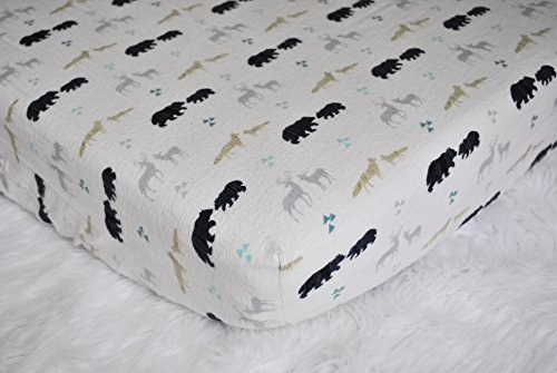 - Fitted Crib Sheet - Nursery Bedding - Handmade in The PNW (Woodland Creatures Crib Sheet, Adventure Crib Bedding, Bear, Wolf, Fox, Deer)