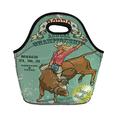 (Portable Bento Lunch Bag,Retro,Rodeo Cowgirl on the Bull Annual Championship Vintage Poster Pattern Grunge Design,Multicolor,for Kids Adult Thermal Insulated Tote)