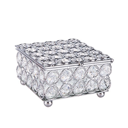ry Box Beads Trinket Organizer Box with Mirrored Inside (Silver) (Silver Plated Trinket Boxes)