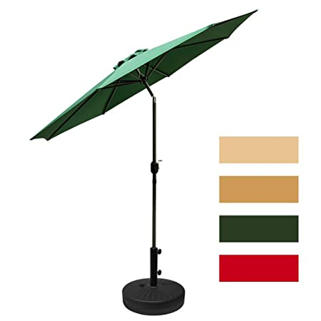 Leisurelife 9 Patio Table Umbrella with Base, Green Sunbrella, 8 Sturdy Ribs, Tilt and Crank, 21 66-lbs