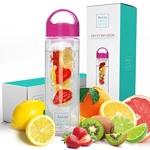Savvy Infusion Water Bottles - 24 or 32 Ounce Fruit Infuser Bottle - Featuring Unique Leak Proof Silicone Sealed Cap with Handle - Great Gifts for -