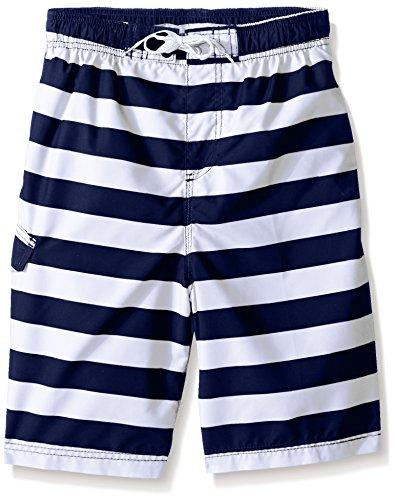 Kanu Surf Big Boys' Troy Stripe Swim Trunk, Navy/White, Large (14/16)