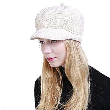 Yuson Girl Sombrero del cr/áneo de la Gorrita Tejida de Slouchy Cable Knit Beanie del Invierno de Las Mujeres con el Visera