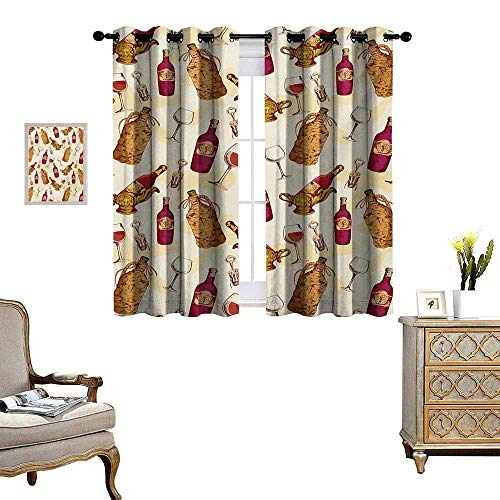 Winery Blackout Window Curtain Vintage Pattern with Glass Bottle Corkscrew Country Restaurant Table Customized Curtains W72 x L63 Fuchsia Ruby Pale Brown