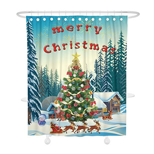 tain, Merry Christmas Tree Reindeer Santa Sleigh Snowman Mildew Resistant Waterproof Shower Curtains Fabric Decorations Home Decor Bathroom Bath Set with Hooks, 72W X 72L Inches ()