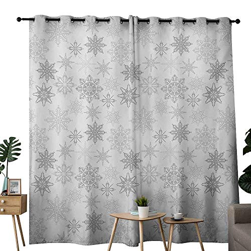 NUOMANAN Blackout Lined Curtains Winter,Ornamental Crystals of Ice Freezing Weather in January Cold Artistic Abstract,Grey Silver White,Thermal Insulated,Grommet Curtain Panel Set of 2 ()