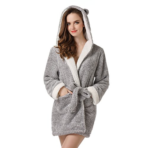 Richie House Women's Soft and Warm Bathrobe Robe With Ears RHW2498,Grey,Small / Medium Cat Robe