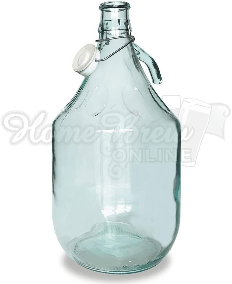 Smart Airlock and Bung. Clear Glass Swing Top Demijohn 5 Litre with Stopper