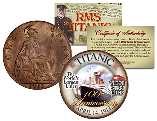 RMS TITANIC *100th Anniversary* Colorized 1912 Great Britain Penny Coin British ()