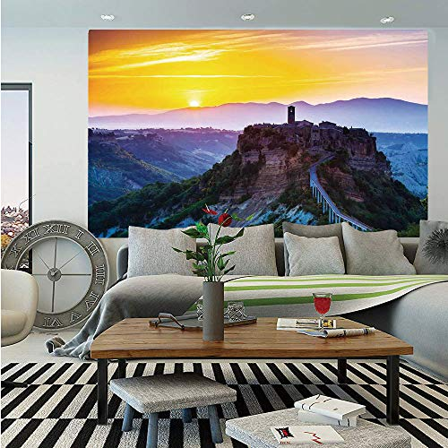 Tuscan Decor Huge Photo Wall Mural,Old Historic Castle and Town on Top of The High Hills in Italian Renaissance at Sunset Print,Self-Adhesive Large Wallpaper for Home Decor 108x152 inches,Multi