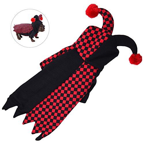 Petacc Fashionable Clown Pet Jacket Comfortable Pet Dog Coat Funny Cosplay Pet Costume, Suitable for Schnauzer, Cocker Spaniel, Corgi, Bulldog and Dachshund -