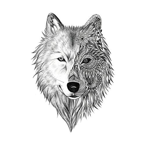 (WYUEN 5 Sheets Waterproof Temporary Tattoo Wolf Tattoo Sticker For Women Men Body Art 9.8X6cm)