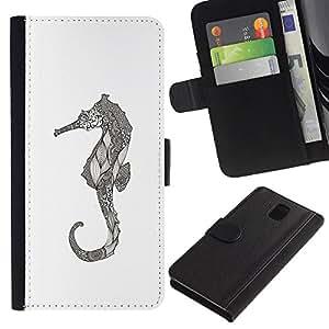 Art dessin au crayon graphique - la tarjeta de Crédito Slots PU Funda de cuero Monedero caso cubierta de piel Para Samsung Galaxy Note 3 III