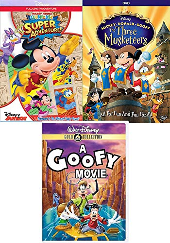 - Super Hero Mickey Clubhouse Junior Adventure 3 Pack Disney Goofy Movie + The Three Musketeers Animated DVD cartoon blast!