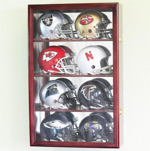 8 Mini Helmet Display Case Cabinet Holder Rack w/ UV Protection- Lockable with Mirror Back